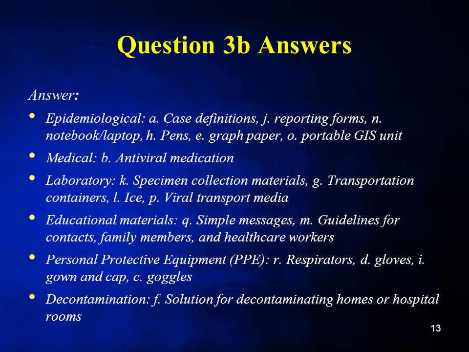 Question 3b Answers Answer: