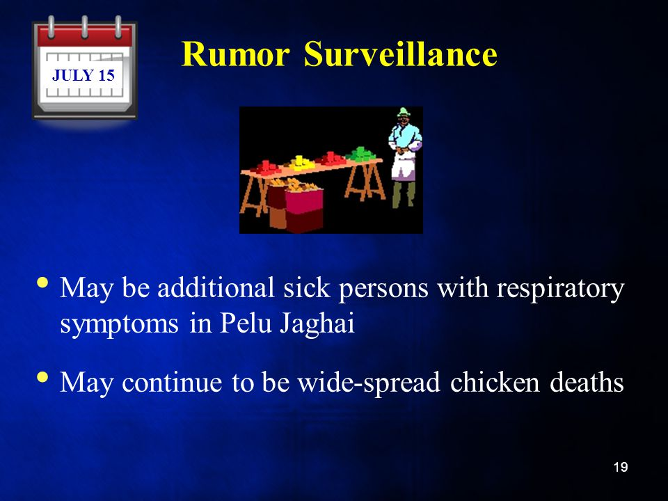Rumor Surveillance JULY 15. May be additional sick persons with respiratory symptoms in Pelu Jaghai.