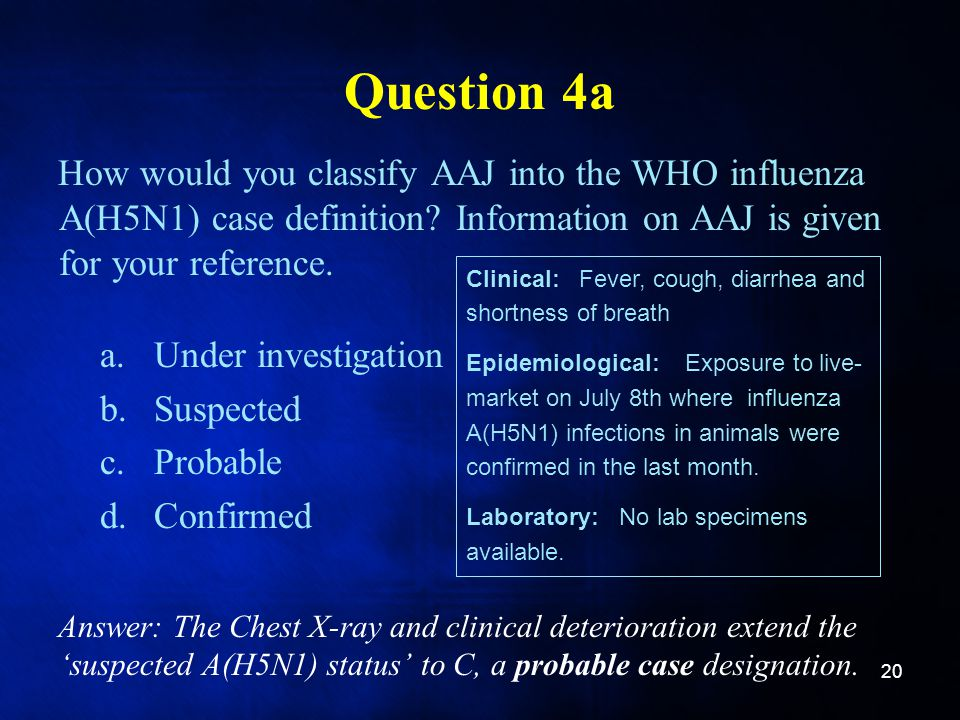 Question 4a How would you classify AAJ into the WHO influenza A(H5N1) case definition Information on AAJ is given for your reference.