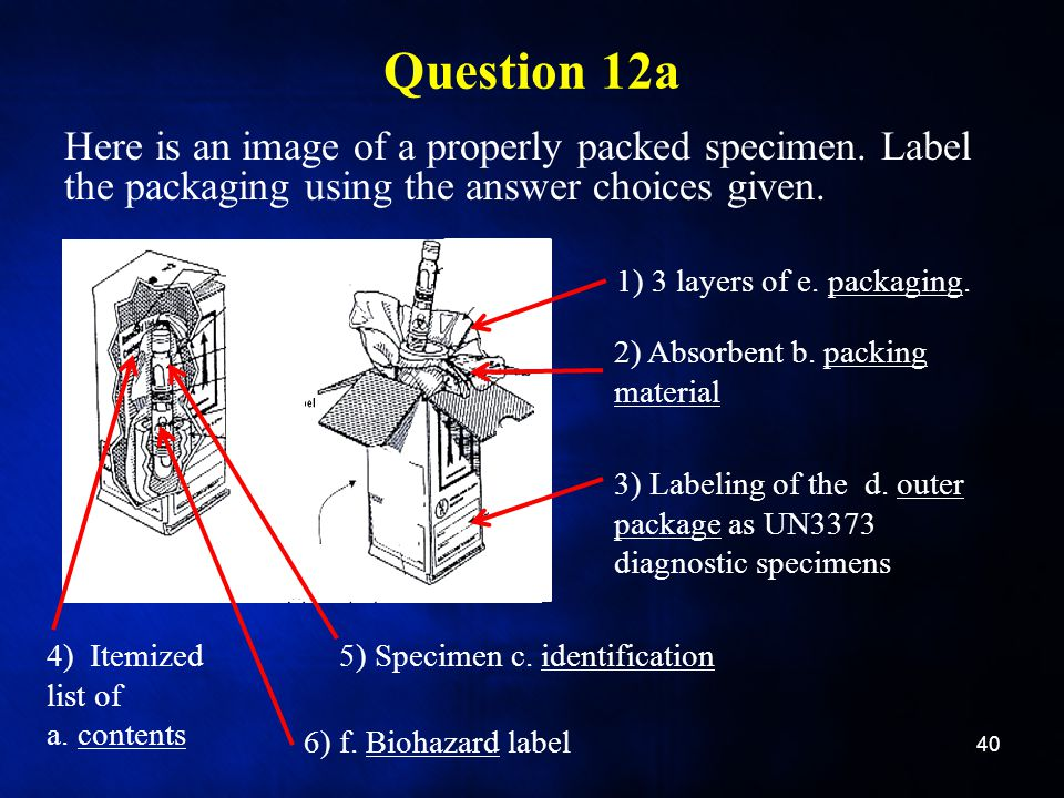 Question 12a Here is an image of a properly packed specimen. Label the packaging using the answer choices given.