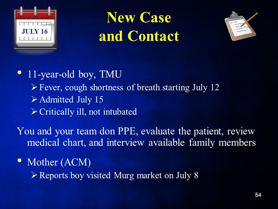 New Case and Contact 11-year-old boy, TMU