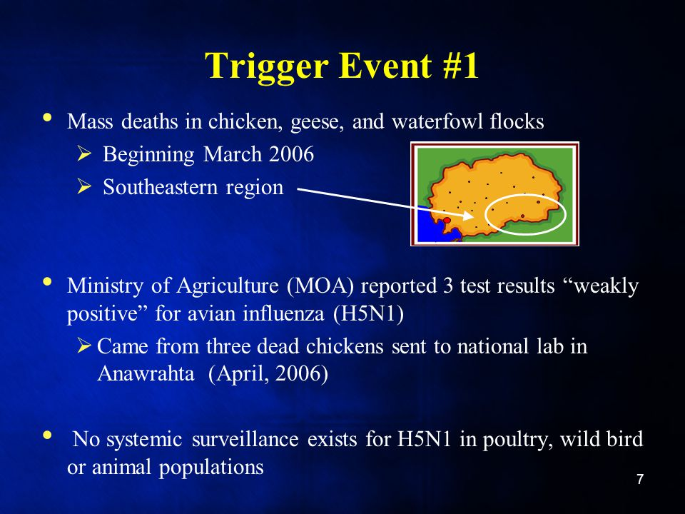 Trigger Event #1 Mass deaths in chicken, geese, and waterfowl flocks