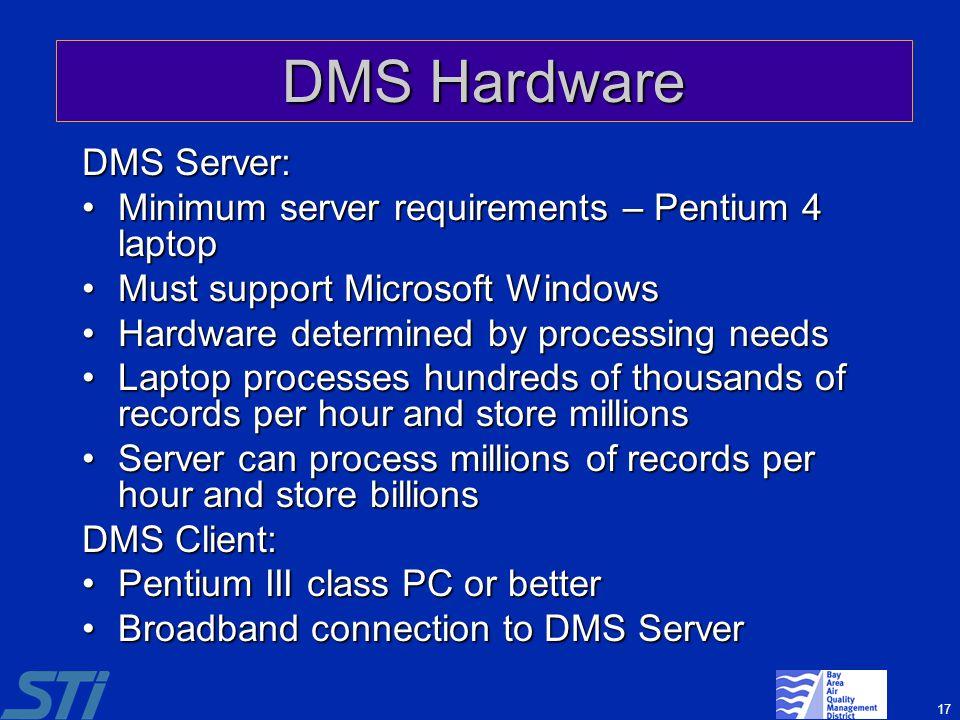 DMS Hardware DMS Server: