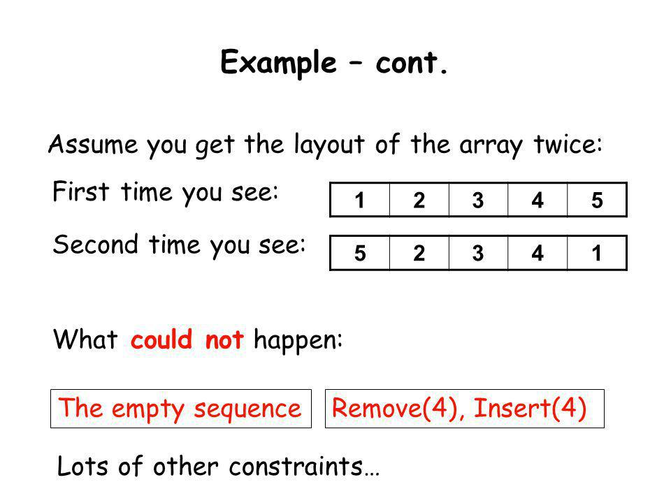 Example – cont. Assume you get the layout of the array twice: