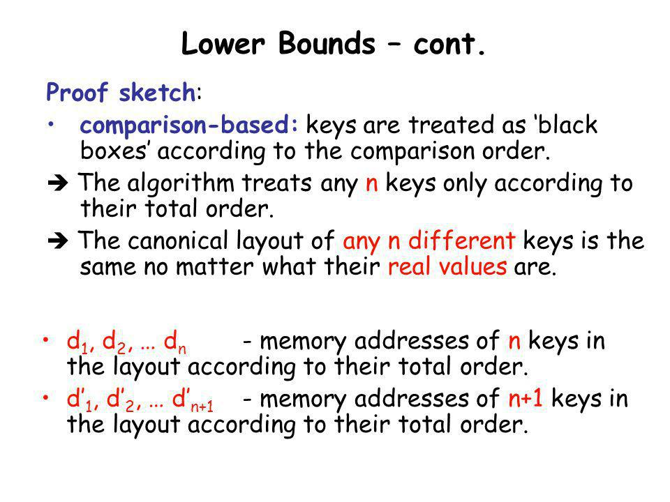 Lower Bounds – cont. Proof sketch: