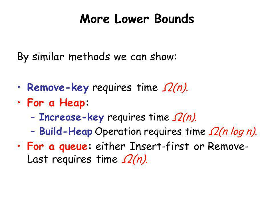 More Lower Bounds By similar methods we can show:
