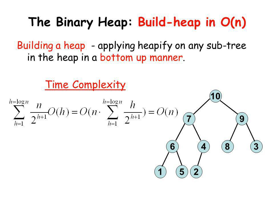 The Binary Heap: Build-heap in O(n)