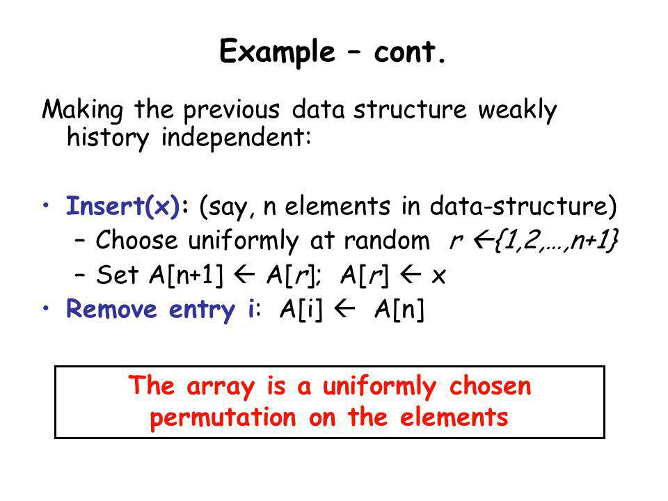 The array is a uniformly chosen permutation on the elements