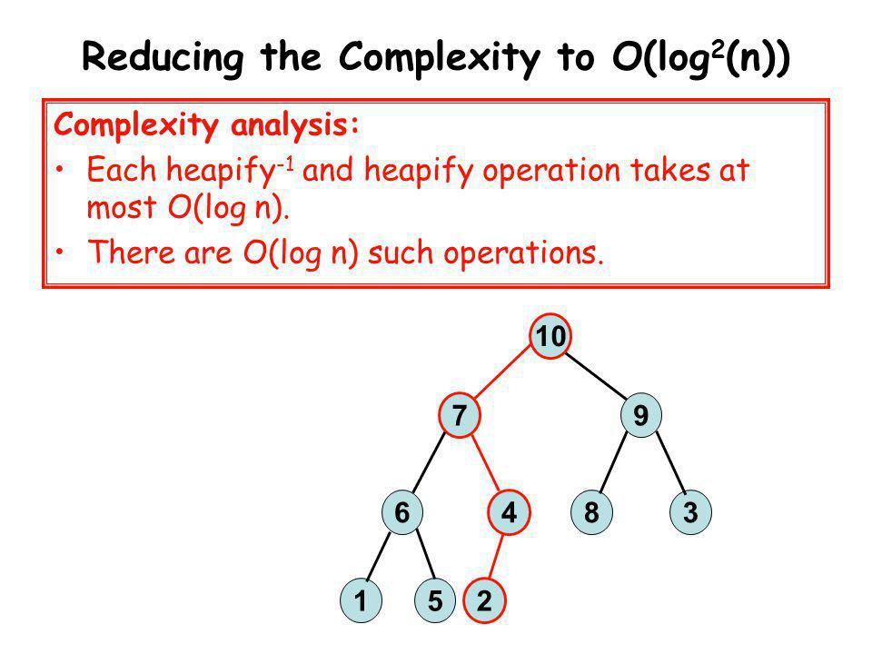 Reducing the Complexity to O(log2(n))
