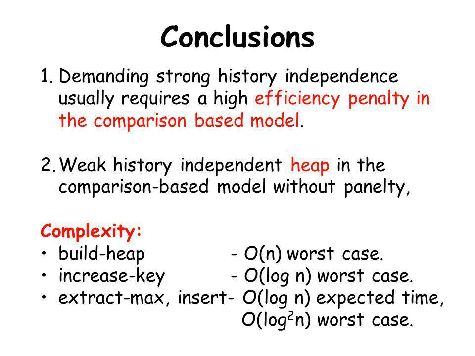 Conclusions Demanding strong history independence usually requires a high efficiency penalty in the comparison based model.