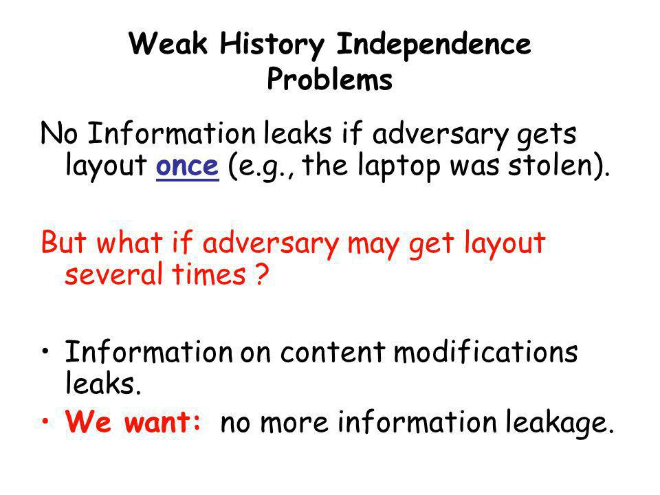 Weak History Independence Problems