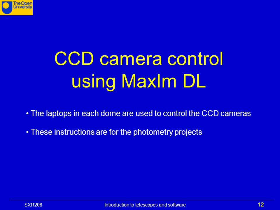 CCD camera control using MaxIm DL