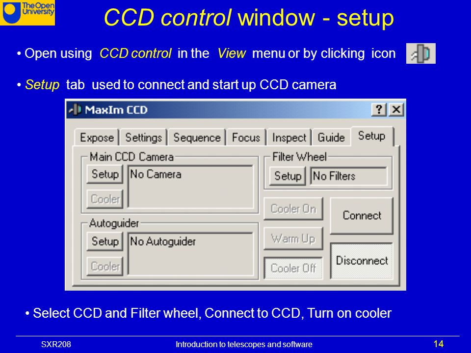 CCD control window - setup