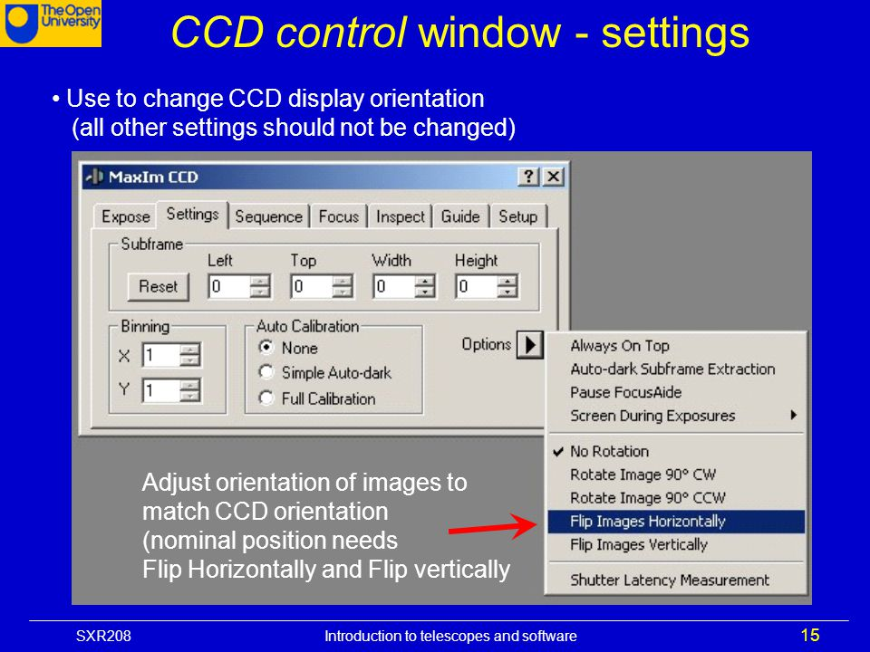 CCD control window - settings