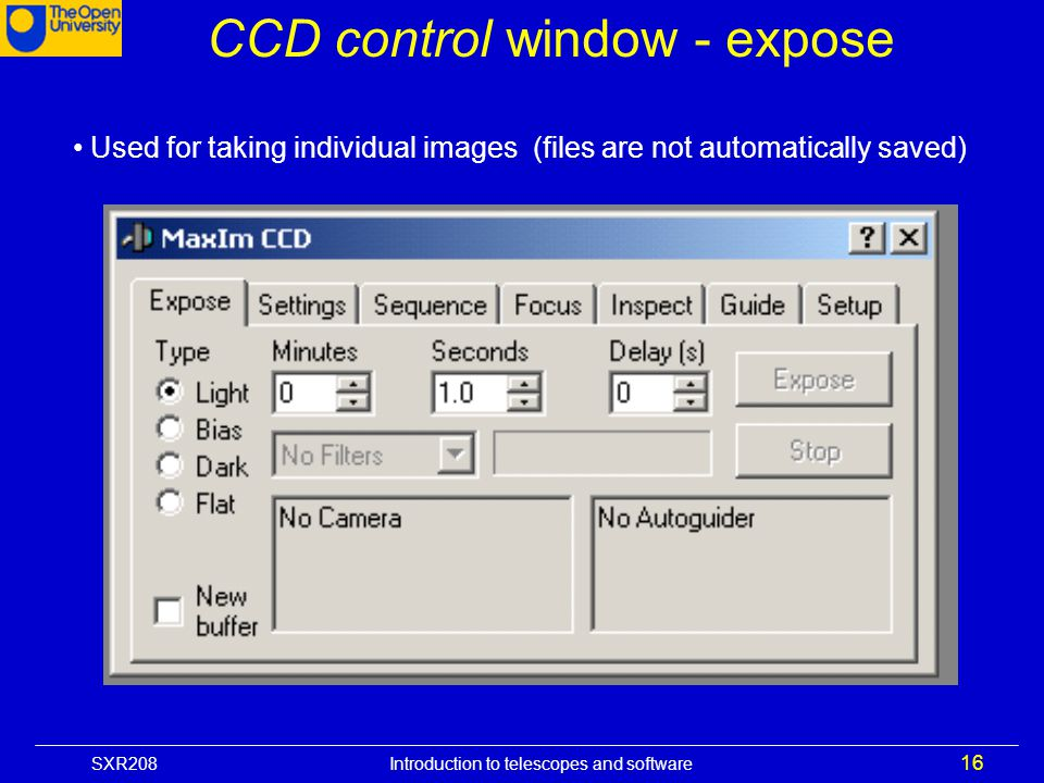 CCD control window - expose