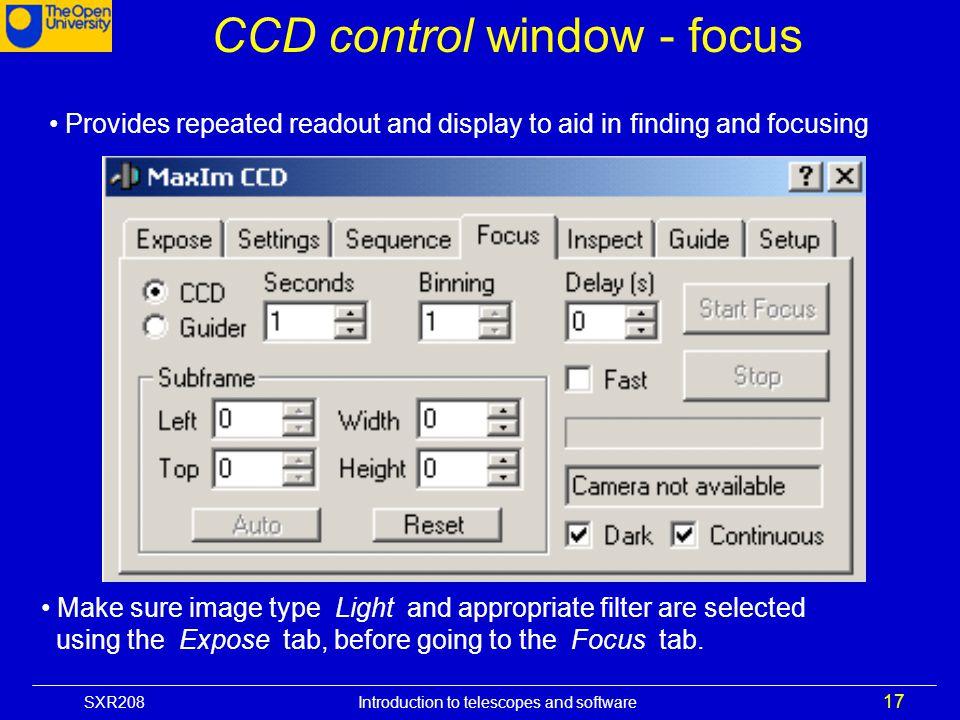 CCD control window - focus