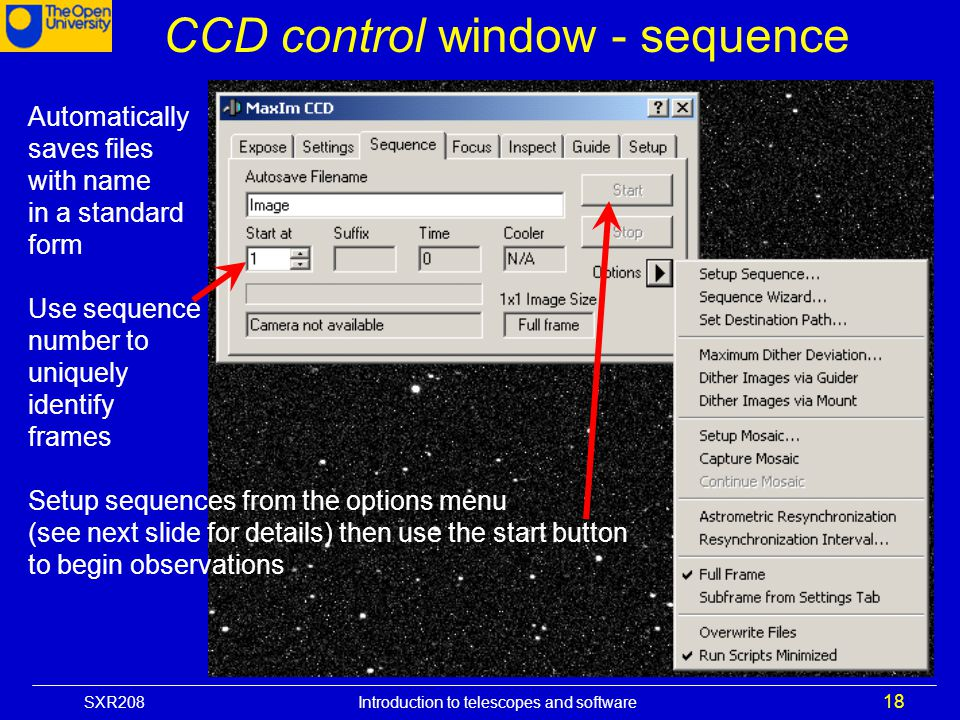 CCD control window - sequence
