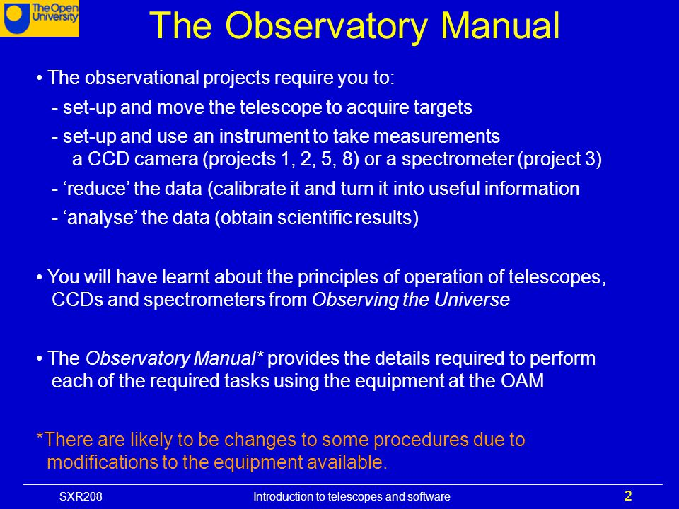 The Observatory Manual