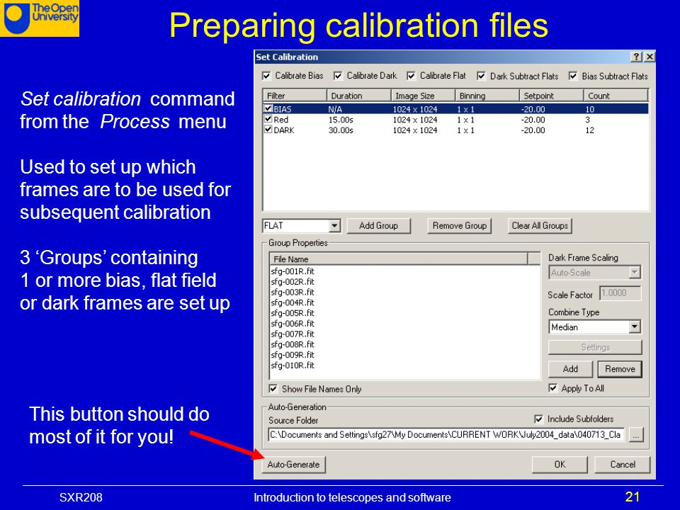 Preparing calibration files