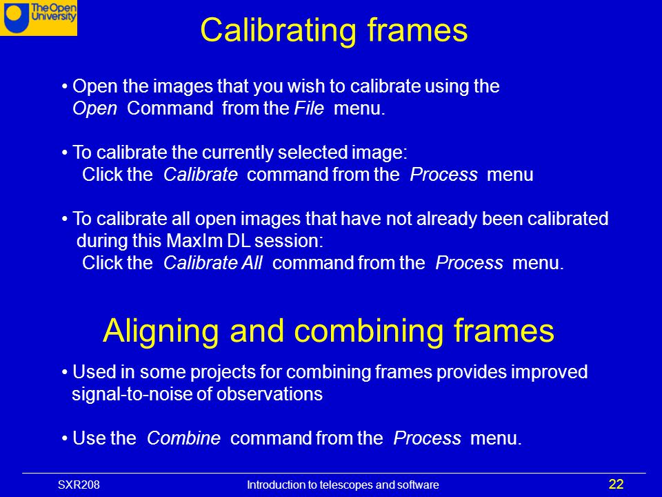 Aligning and combining frames