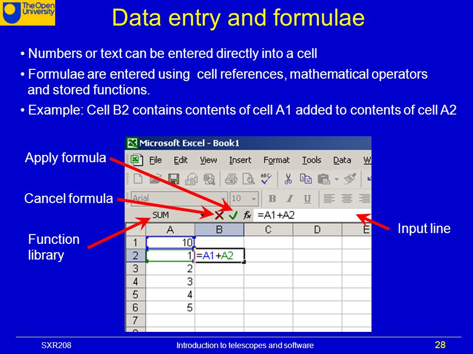 Data entry and formulae