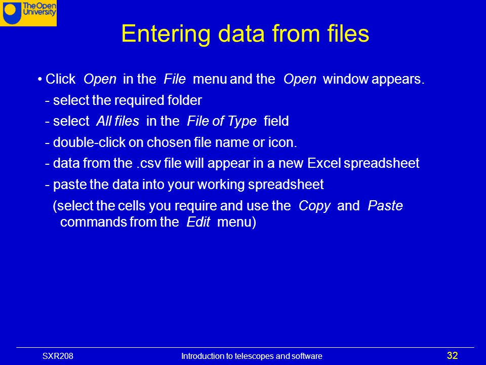 Entering data from files