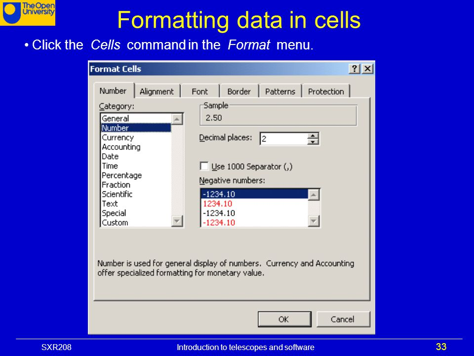 Formatting data in cells