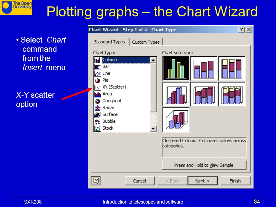 Plotting graphs – the Chart Wizard