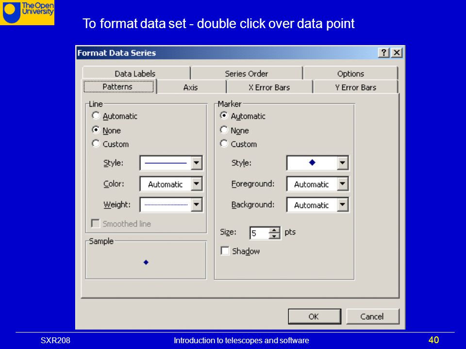To format data set - double click over data point