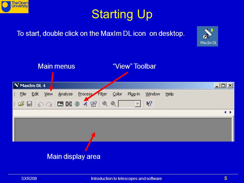 Starting Up To start, double click on the MaxIm DL icon on desktop.