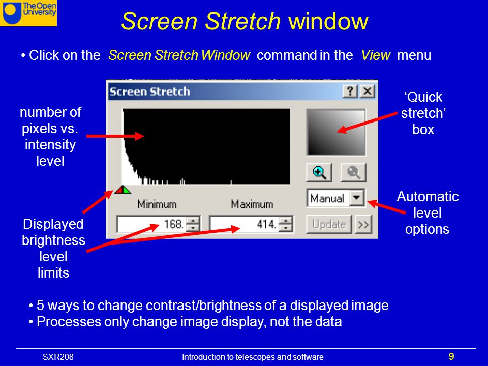 Screen Stretch window Click on the Screen Stretch Window command in the View menu. number of pixels vs. intensity level.