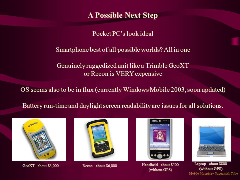 A Possible Next Step Pocket PC's look ideal