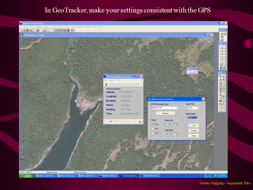 In GeoTracker, make your settings consistent with the GPS