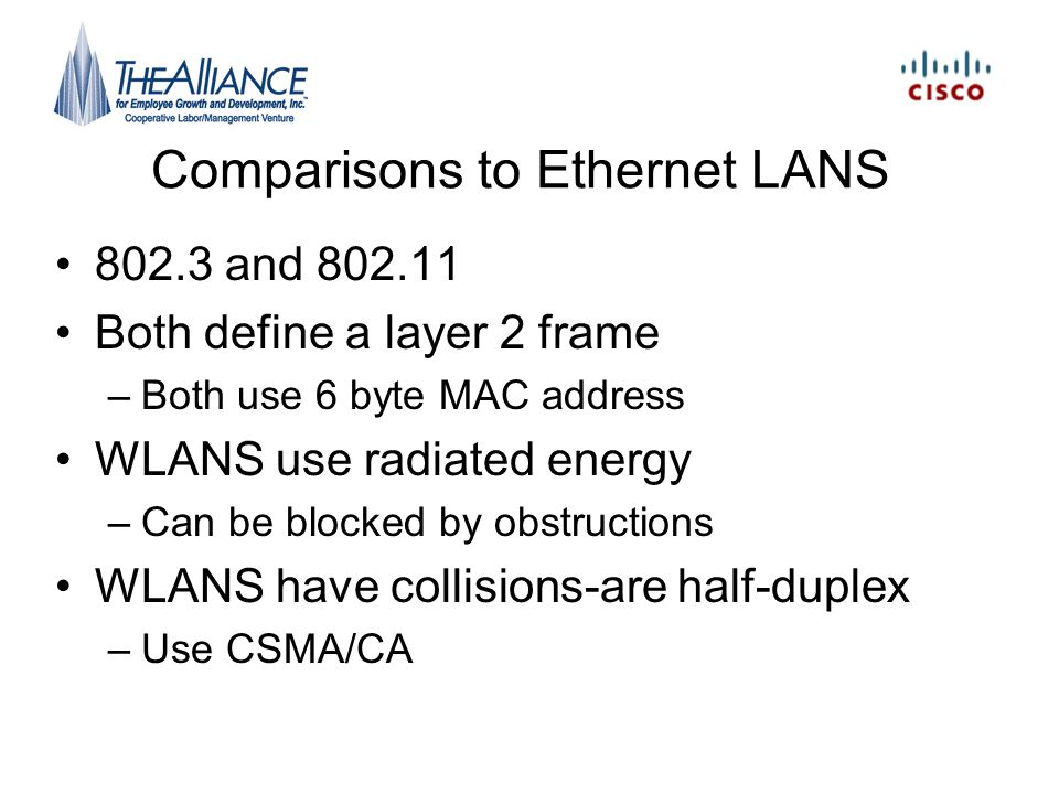 Comparisons to Ethernet LANS
