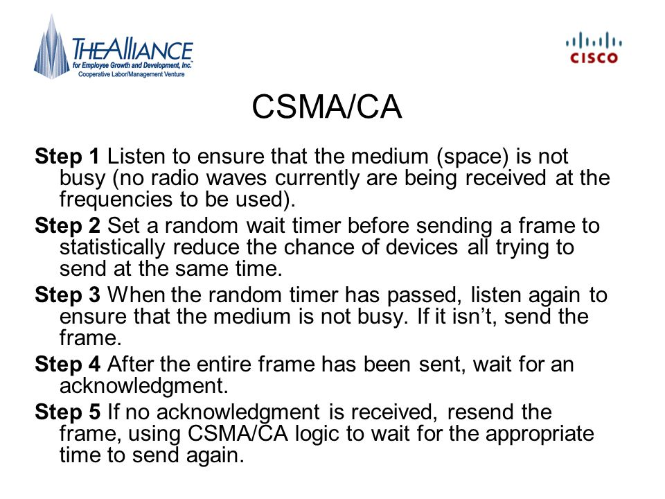 CSMA/CA Step 1 Listen to ensure that the medium (space) is not busy (no radio waves currently are being received at the frequencies to be used).