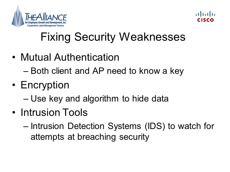 Fixing Security Weaknesses