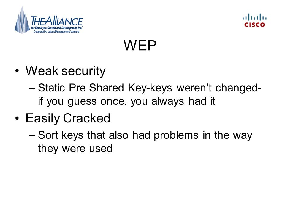 WEP Weak security Easily Cracked
