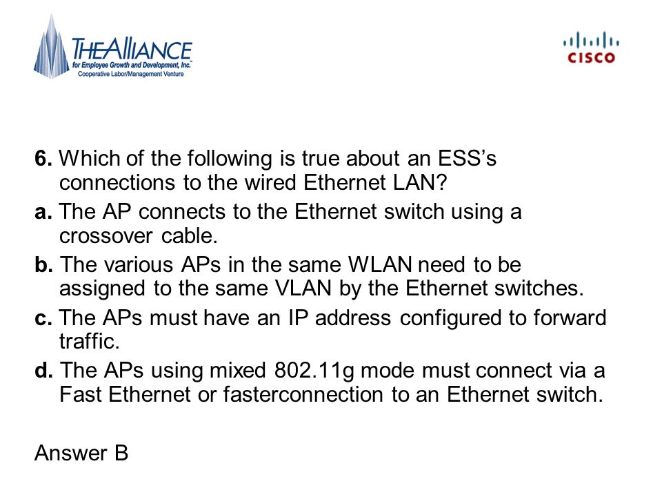 6. Which of the following is true about an ESS's connections to the wired Ethernet LAN