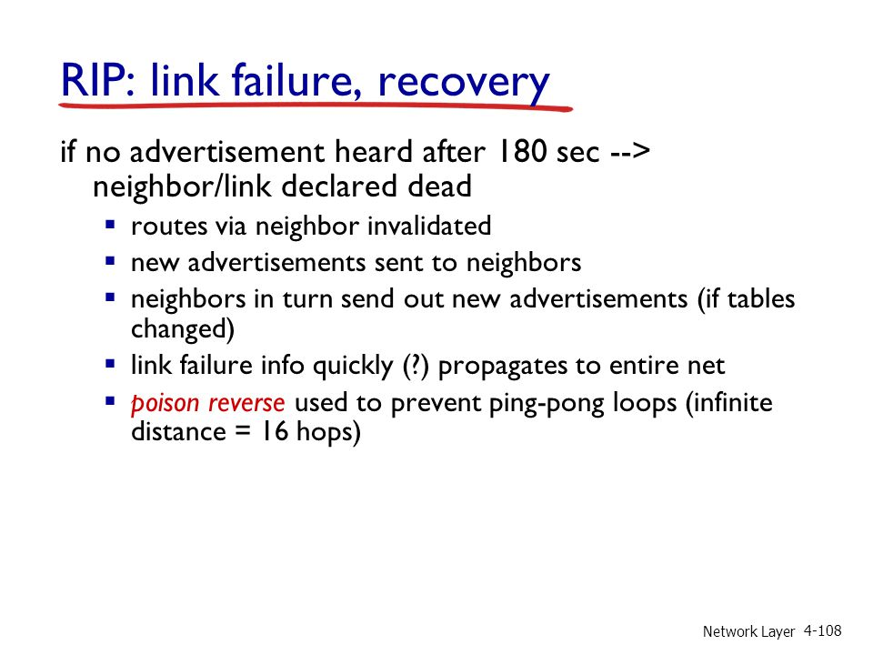 RIP: link failure, recovery