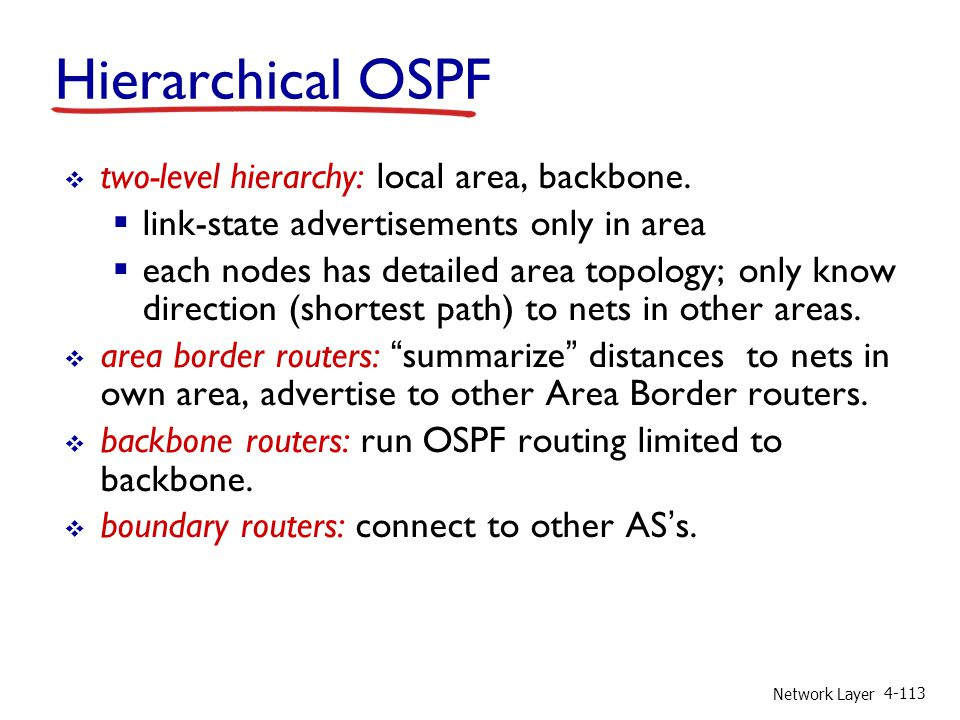 Hierarchical OSPF two-level hierarchy: local area, backbone.
