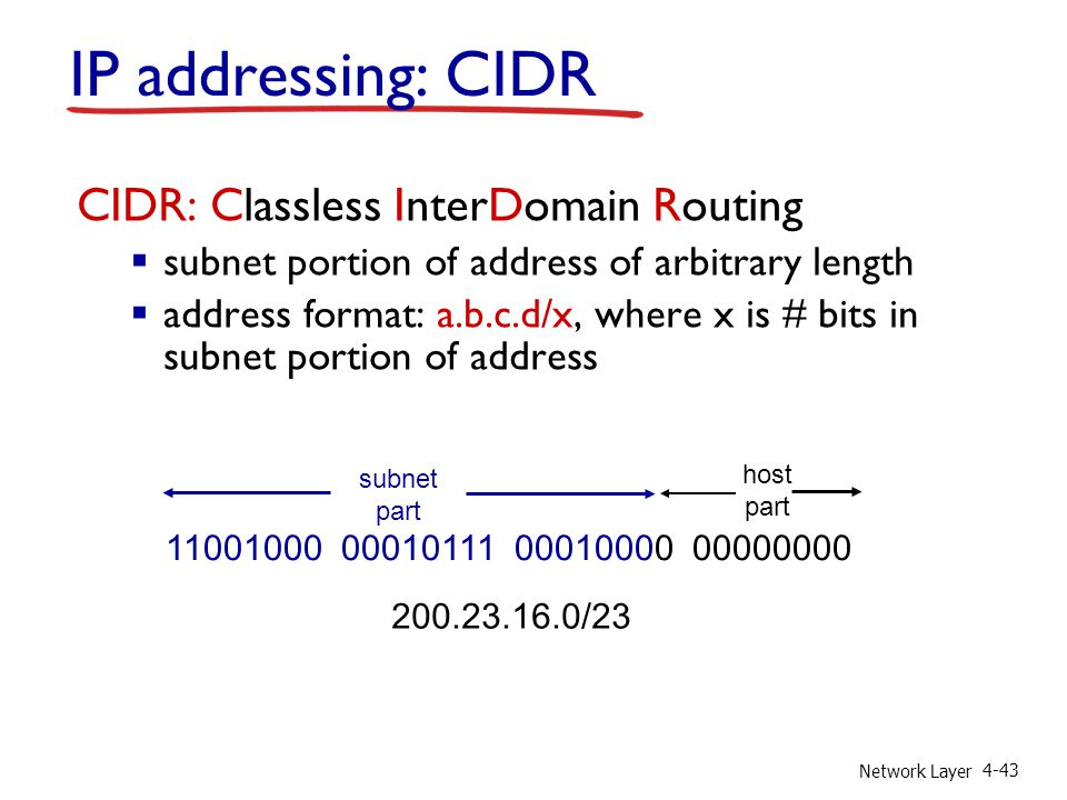 IP addressing: CIDR CIDR: Classless InterDomain Routing