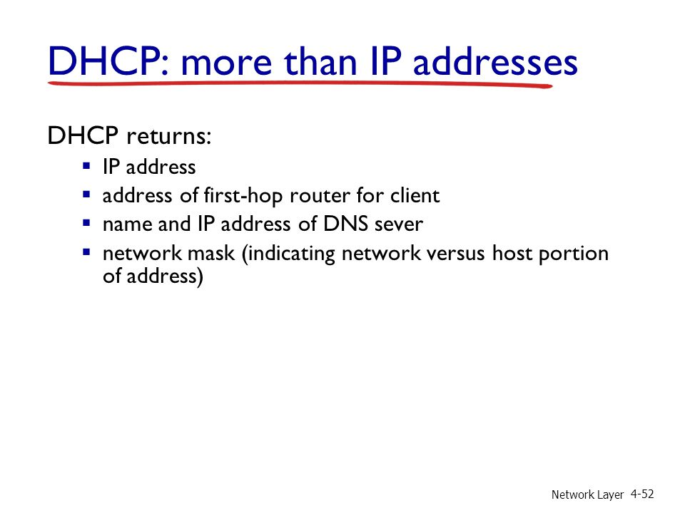 DHCP: more than IP addresses