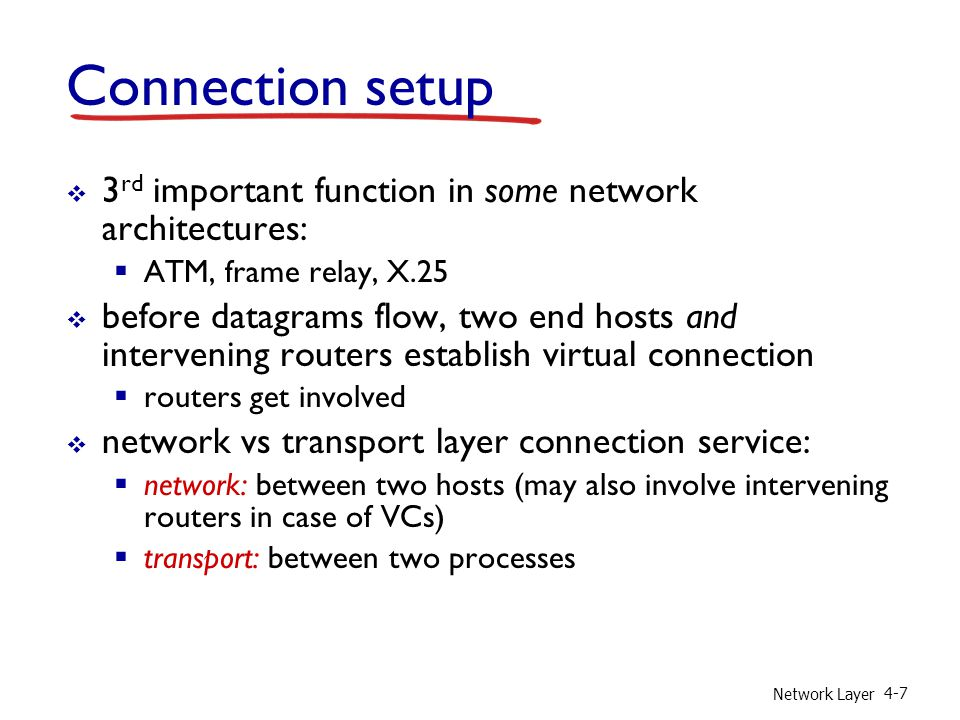 Connection setup 3rd important function in some network architectures: