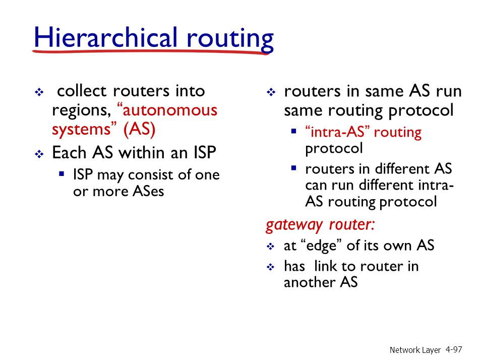 Hierarchical routing collect routers into regions, autonomous systems (AS) Each AS within an ISP.