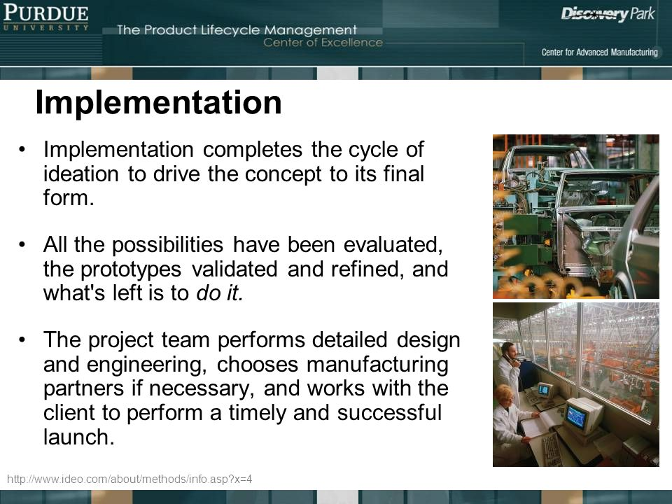 Implementation Implementation completes the cycle of ideation to drive the concept to its final form.