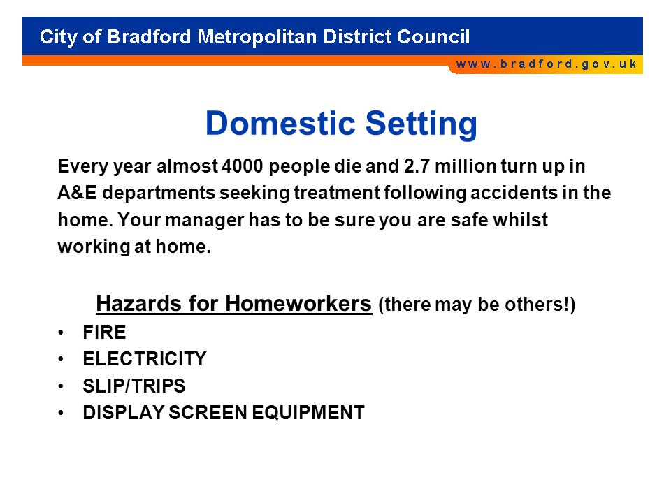 Hazards for Homeworkers (there may be others!)
