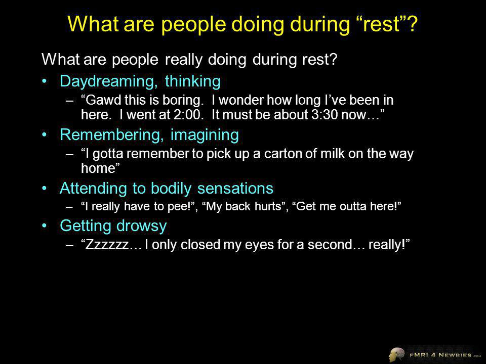 What are people doing during rest