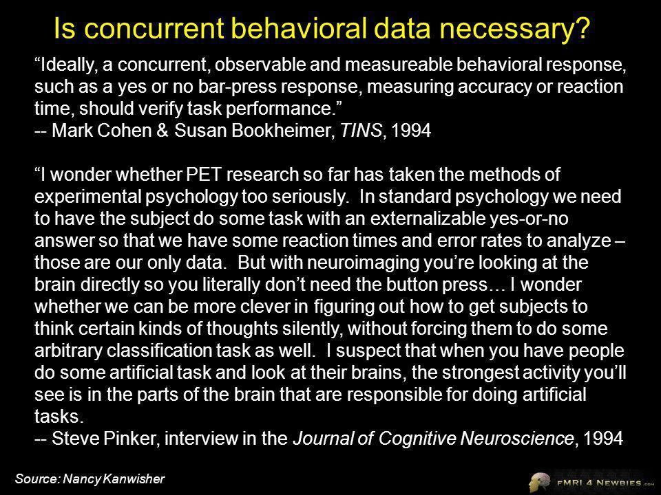 Is concurrent behavioral data necessary