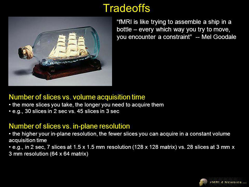 Tradeoffs Number of slices vs. volume acquisition time