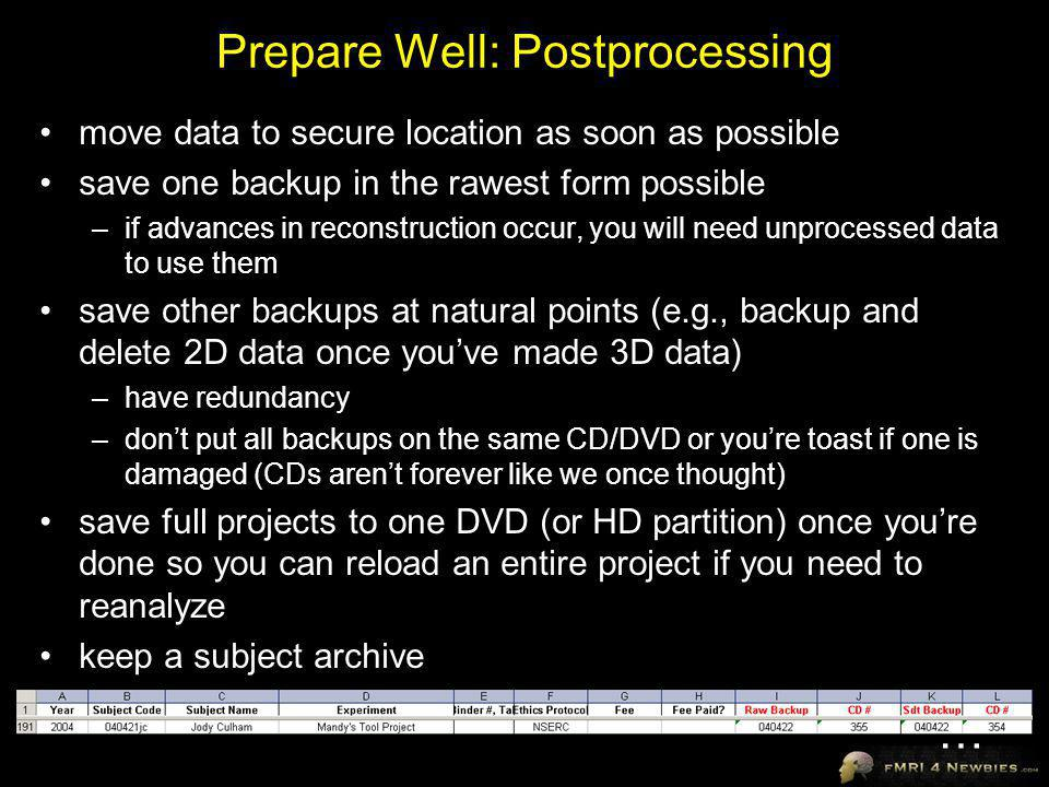 Prepare Well: Postprocessing